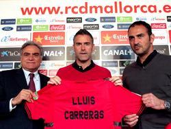 Biel Cerdá (l.) bei der Präsentation von Lluís Carreras (m.) Ende Februar