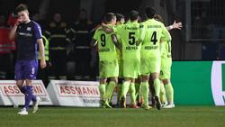 Gleich sechs Tore bejubelte der SV Wehen Wiesbaden in Osnabrück