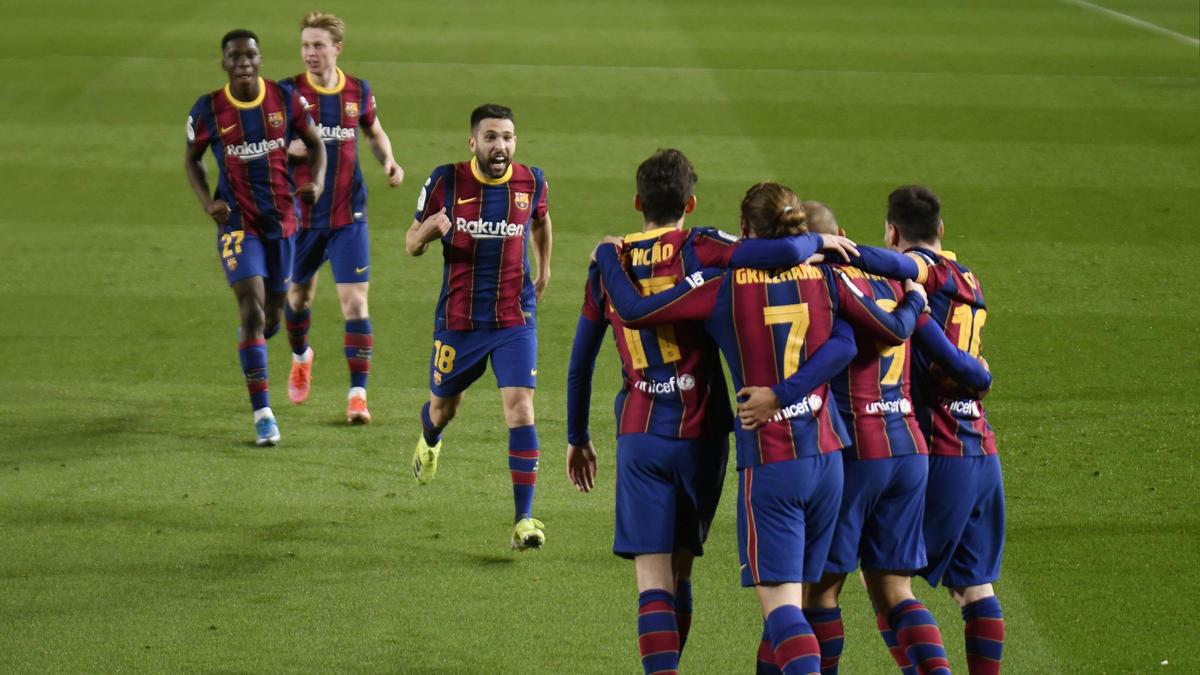 Der FC Barcelona jubelt über den Sieg gegen den FC Sevilla