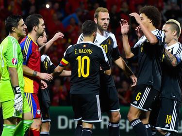 Bélgica celebrando el gol de Eden Hazard. (Foto: Getty)