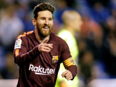 Messi celebra un tanto con el brazalete de capitán. (Foto: Getty)