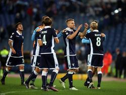 Los futbolistas de la Lazio celebran la victoria. (Foto: Getty)