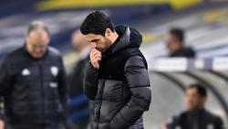 Arteta en la zona técnica del Arsenal esta temporada.