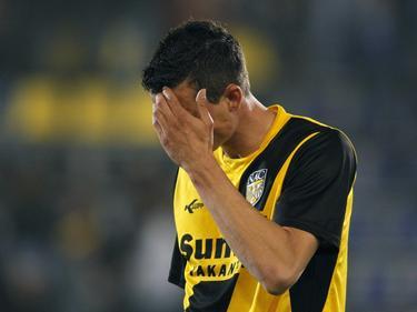 Julian Jenner baalt flink nadat hij met NAC Breda in eigen huis onderuit gaat tegen Excelsior. Het wordt 1-2 in Breda. (16-04-2011)