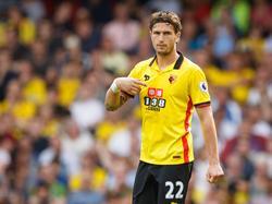 Daryl Janmaat debuteert namens Watford tijdens het competitieduel met Arsenal (27-08-2016).