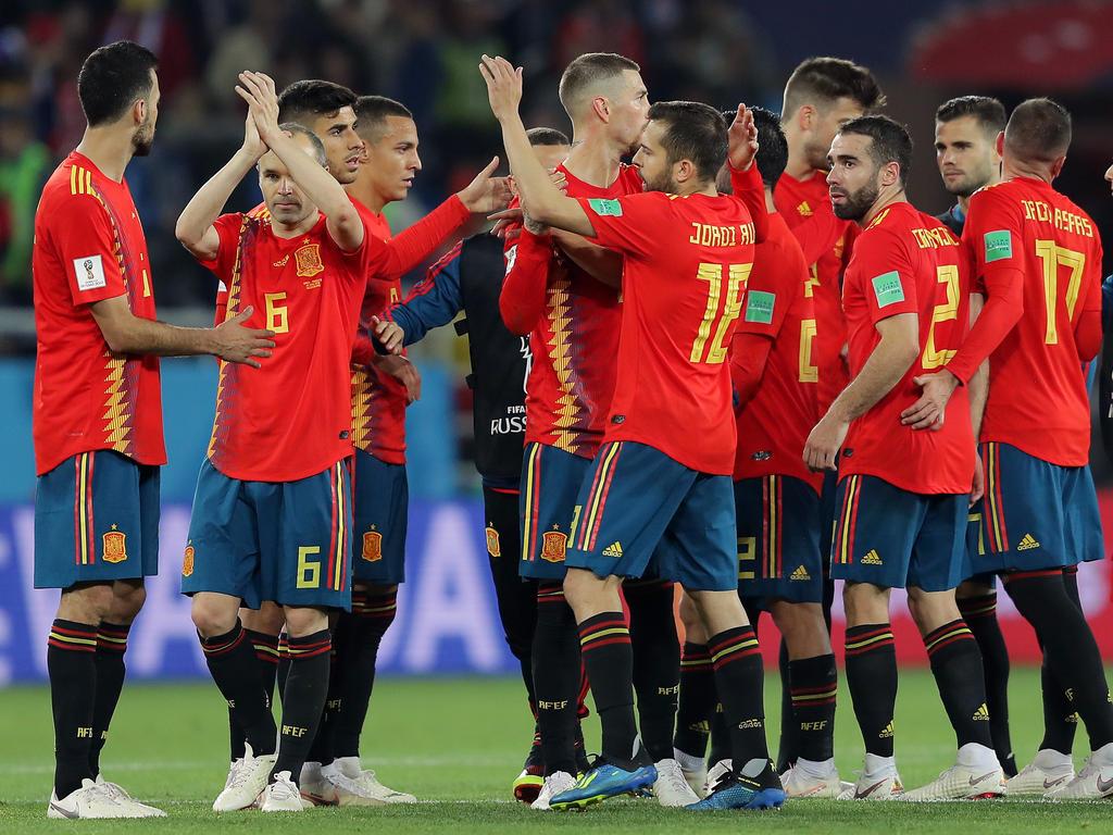 Erleichterte Spanier nach dem Schlusspfiff gegen Marokko