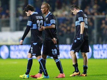 De spelers van Lazio balen van het 0-0 gelijkspel tegen laagvlieger Frosinone. (21-02-2016)