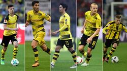 BVB-Streichkandidaten (v.l.): Julian Weigl, Nuri Sahin, Shinji Kagawa, Sebastian Rode, Dzenis Burnic