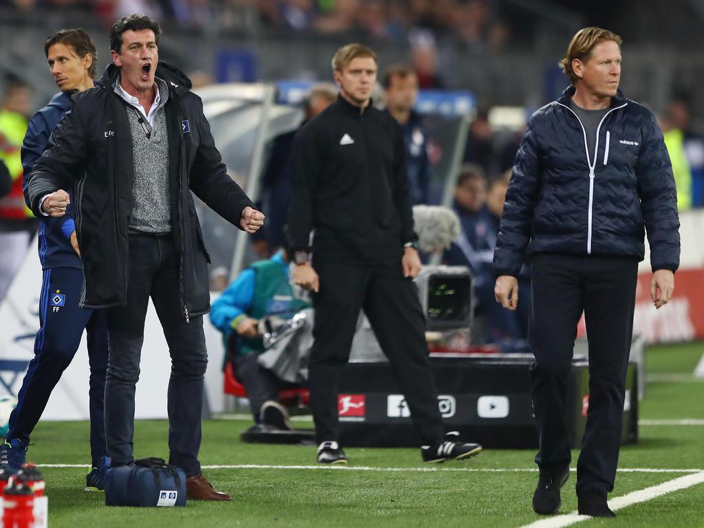 HSV-Sportchef Jens Todt (l.) wird über die Zukunft von Trainer Markus Gisdol nachdenken