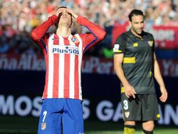 Griezmann se lamenta tras fallar una ocasión en el Calderdón. (Foto: Getty)