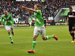 Wolfsburgs André Schürrle jubelt über den Treffer gegen den VfB Stuttgart