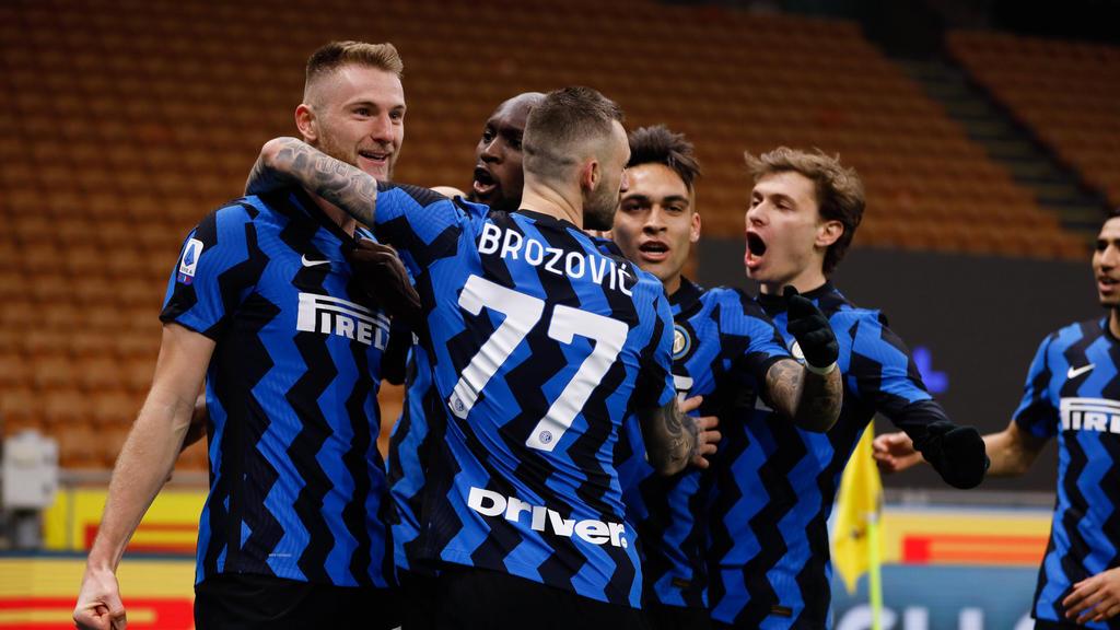 Inter jubelt über den Sieg gegen Atalanta