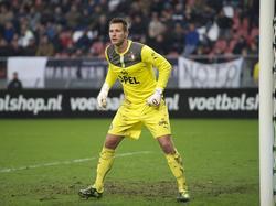 Erwin Mulder in actie tijdens FC Utrecht - Feyenoord. (19-01-2014)