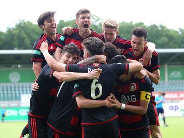Die Bayer-Junioren bejubelten den Sieg gegen Tottenham