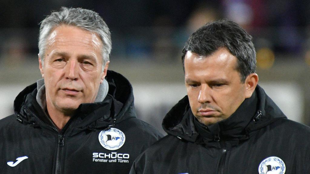 Cheftrainer Uwe Neuhaus (l.) und Sport-Geschäftsführer Samir Arabi