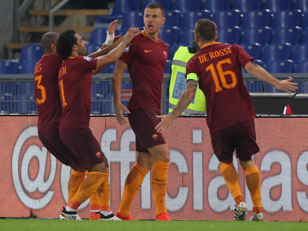 Edin Džeko erzielte Romas erstes Tor beim 2:1-Heimsieg gegen Inter