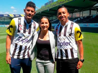 Andrés Andrade (l.) und Andy Reyes (r.) spielen nun in Oberösterreich. © Fútbol Consultants