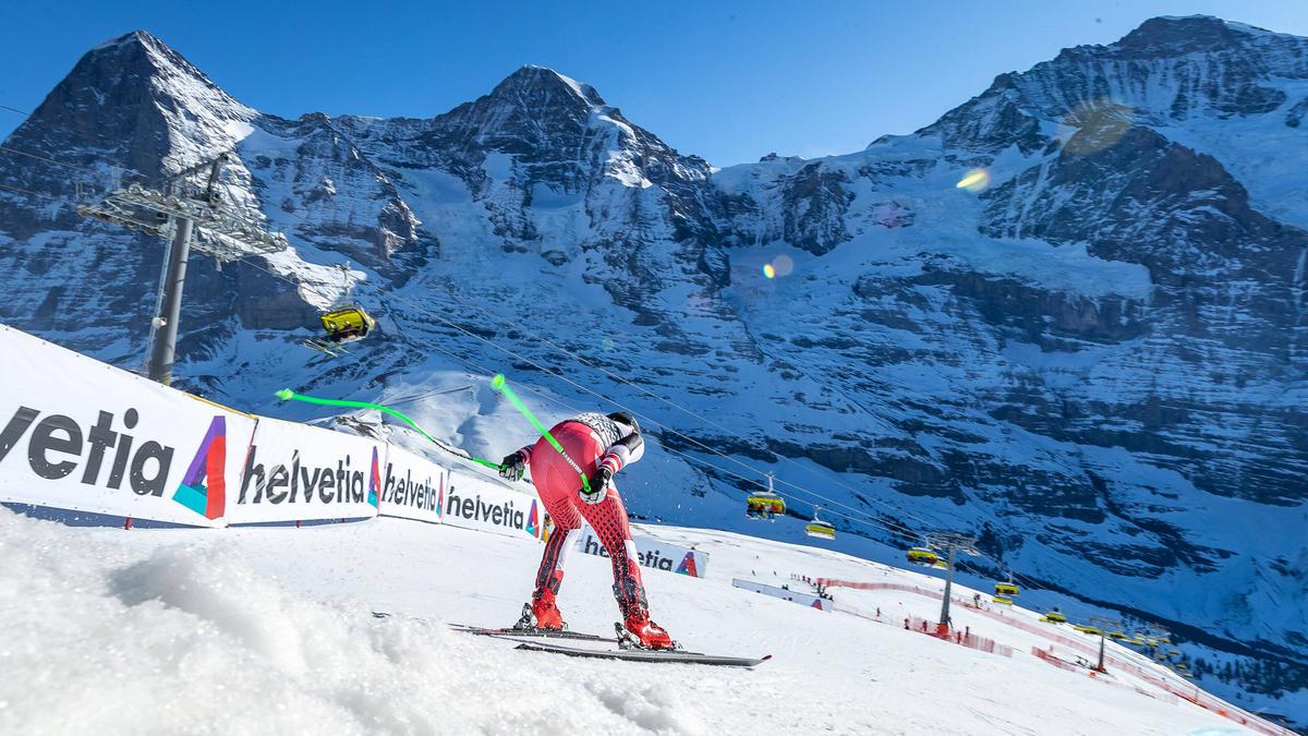 Die Lauberhorn-Abfahrt gehört zu den spektakulärsten Rennen des alpinen Skizirkus