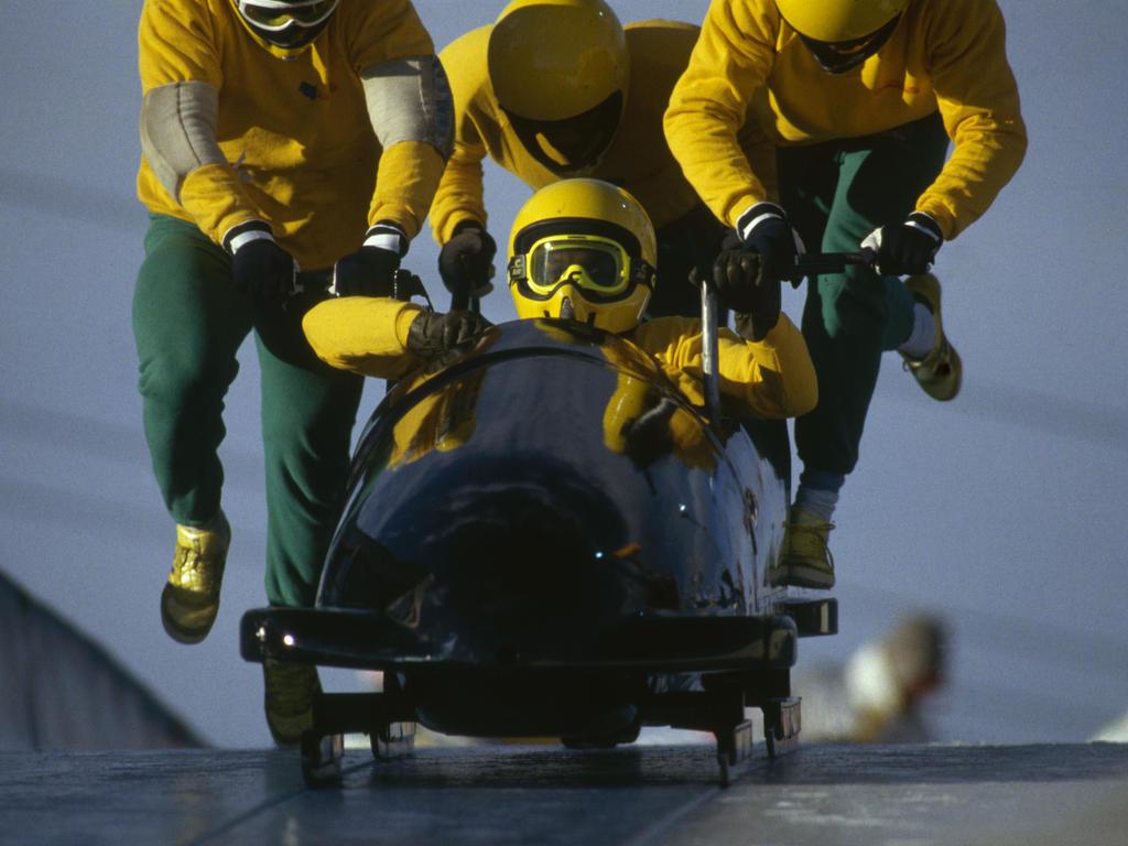 De jamaikanischen Bob-Pioniere bei den Olympischen Winterspielen 1988 in Calgary.