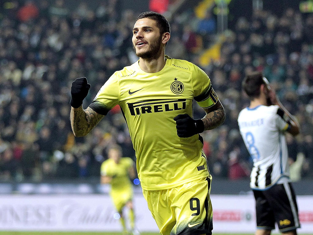 Beim souveränen 4:0-Sieg von Inter Mailand gegen Udinese am 12.12.2015 bejubelte der Argentinier Mauro Icardi einen seiner zwei Treffer.