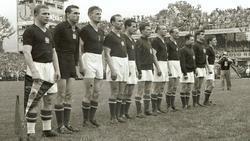 Die ungarische Mannschaft vor dem Finale 1954 in Bern