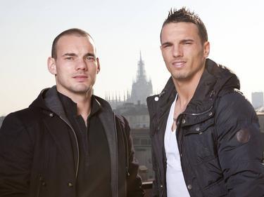 De broers Wesley (l.) en Rodney (r.) Sneijder.