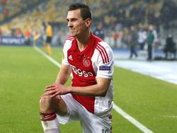 Arkadiusz Milik kan niet zijn draai vinden tijdens Dnipro Dnipropetrovsk - Ajax in de achtste finale van de Europa League. (12-03-2015).