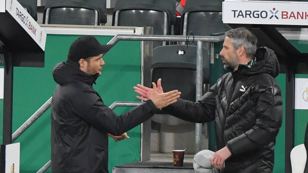 Marco Rose (r.) freute sich für seinen baldigen Kollegen beim BVB Edin Terzic (l.)