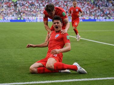 Harry Maguire marcó el primer gol de Inglaterra. (Foto: Getty)
