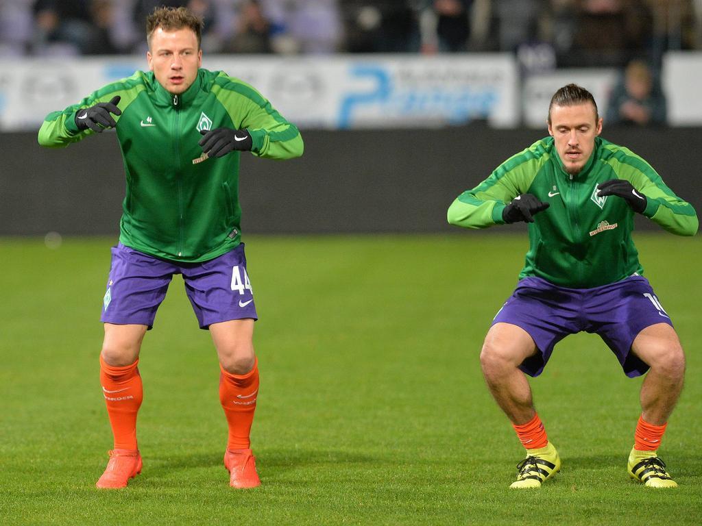 Bargfrede (l.) und Kruse sind Optionen für Werder-Coach Nouri