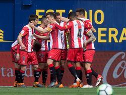 Los jugadores del Girona celebran el tanto de Stuani. (Foto: Getty)