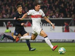 Mario Gomez und der VfB Stuttgart setzten sich gegen die Hertha aus Berlin durch