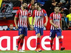 Diego Costa, Godín y Koke en la Supercopa europea contra el Madrid. (Foto: Imago)
