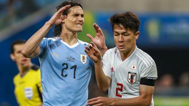 Cavani tat sich mit Uruguay gegen Japan schwer
