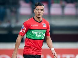 Ali Messaoud debuteert tegen Roda JC in het shirt van NEC. De middenvelder wordt door de Nijmegenaren gehuurd van FC Vaduz. (22-01-2017)