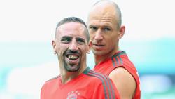 Franck Ribéry junto a Robben en un entrenamiento.