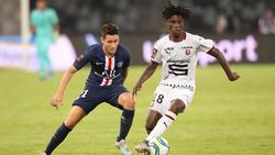 Der erst 16 Jahre alte Eduardo Camavinga (r.) zeigte gegen PSG eine starke Leistung