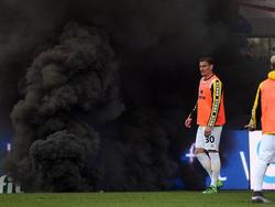 Rauchbombe bei Dynamo-Aufstieg