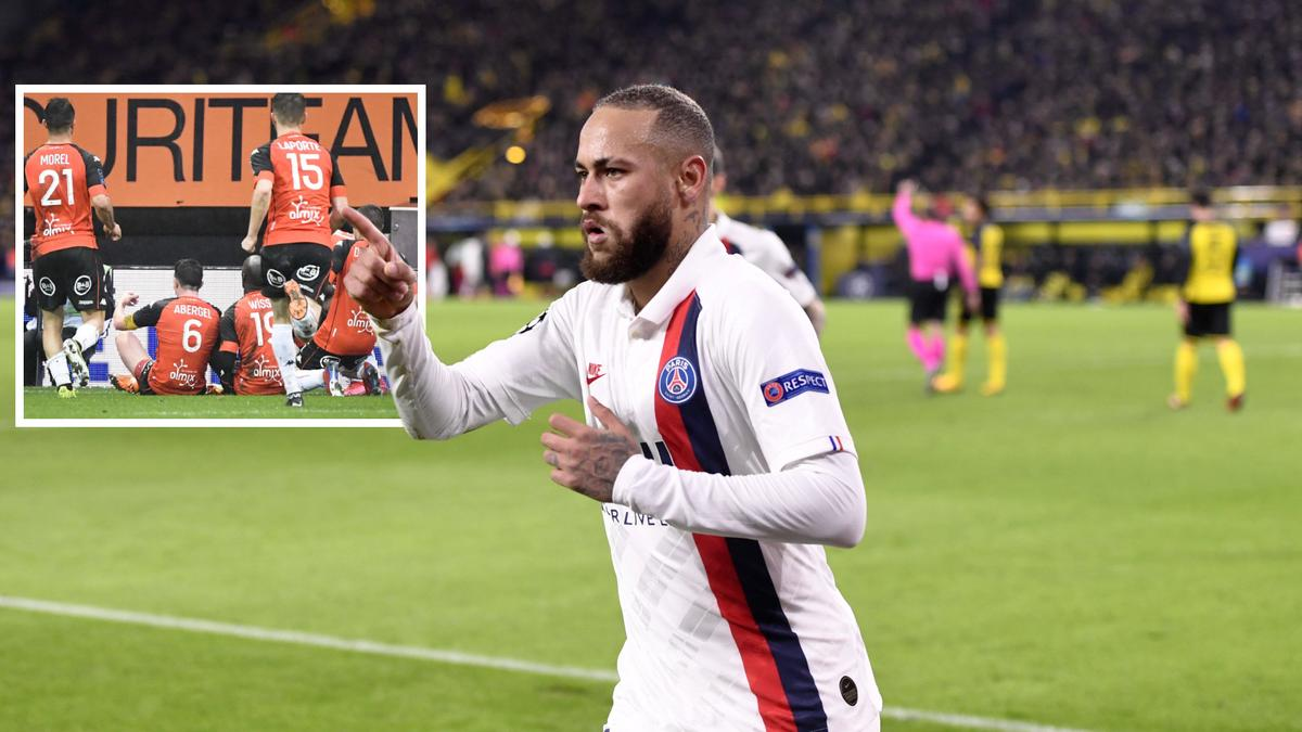 Die Lorient-Spieler bejubelten ihren Siegtreffer gegen PSG im Haaland-Stil (kleines Bild)