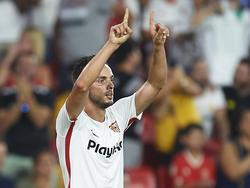 Sarabia lideró al Sevilla con un gol y una asistencia en el gran derbi. (Foto: Getty)