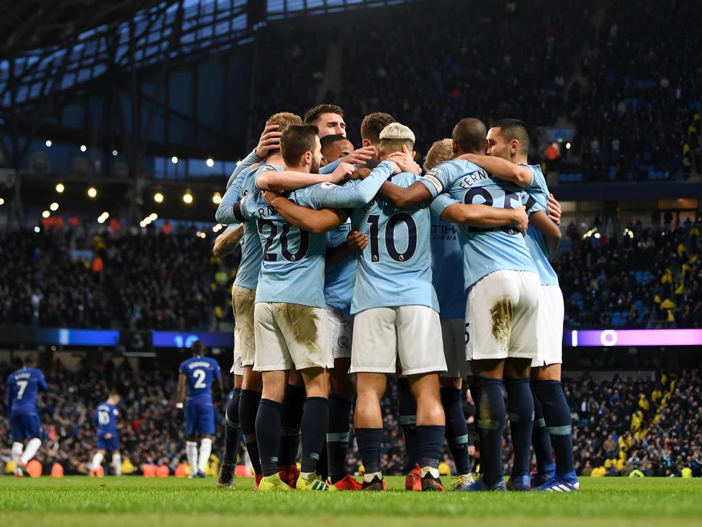 Die City-Stars feiern den Kantersieg über Chelsea. © Getty Images/Michael Regan