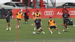 Marcel Sabitzer (am Ball) trainierte am Dienstag mit dem FC Bayern