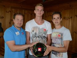 Wacker Sportdirektor Florian Klausner mit Thomas Hirschhofer und Rene Renner (v.l.n.r.)