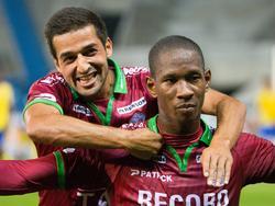 Glynor Plet viert zijn treffer tegen Waasland-Beveren in de Belgische Eerste Klasse. (13-09-14)