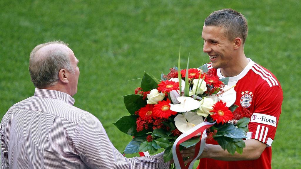 Lukas Podolski (r.) erinnert sich noch gerne an seine Zeit beim FC Bayern München