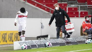 VfB-Profi Tanguy Coulibaly musste verletzungsbedingt ausgewechselt werden