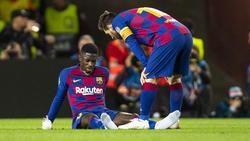 Ousmane Dembélé (l.) ist Lionel Messi angeblich ein Dorn im Auge