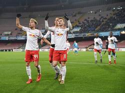 Kevin Kampl (l.) und Timo Werner bejubelten den Auswärtssieg beim SSC Neapel