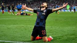 Die Spieler der kroatischen Mannschaft feiern den Einzug ins WM-Finale