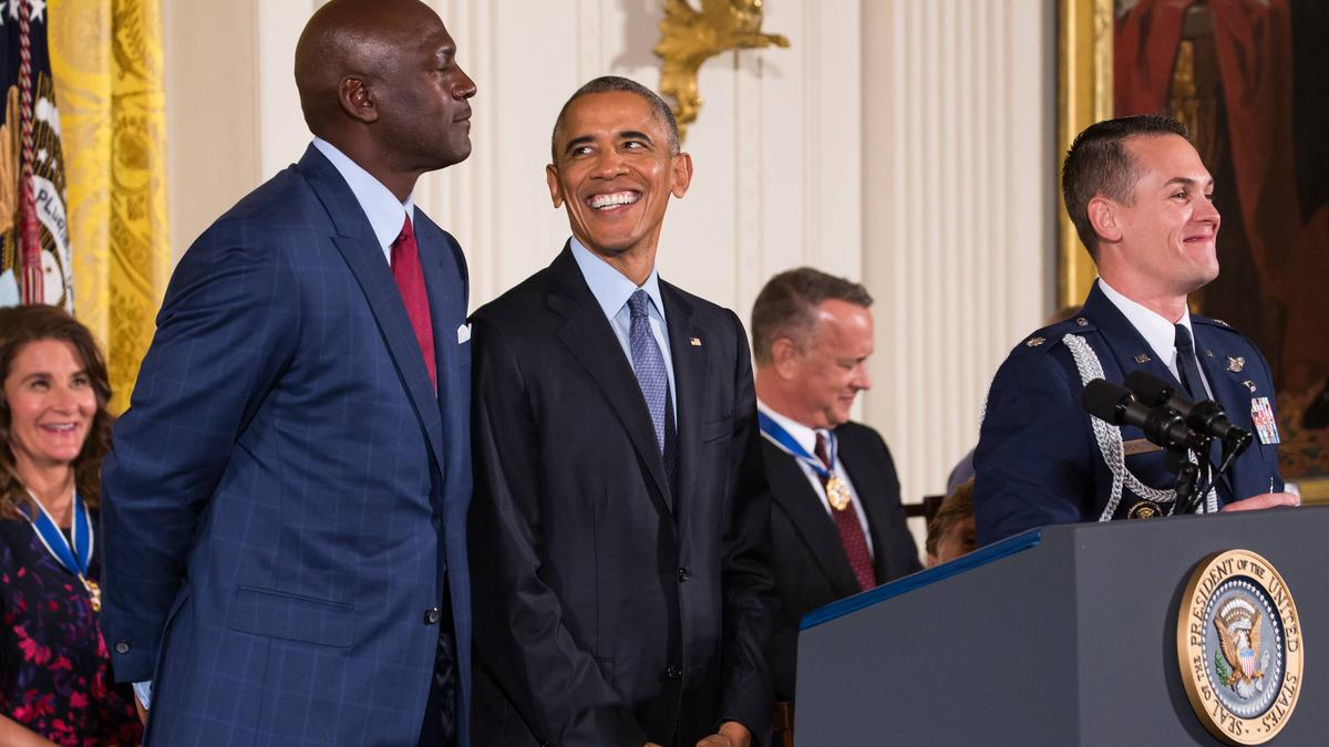 "Barack Obama und Michael ""Air"" Jordan"
